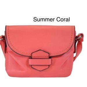 Handbags - Coral SIlver Tone Small Tuck & Loop Crossbody bag